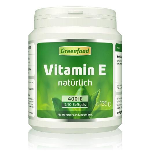 Greenfood Vitamin E Natürlich 240 Kapseln Gel – Schützt Vor Den Auswirkungen Von Verschmutzung Und Sonnenlicht, Anti-Oxidant, Für Die Aufrechterhaltung Gesunder Zellen Und Gewebe (Anti-Aging). Keine Künstlichen Zusätze. Ohne Gentechnik.