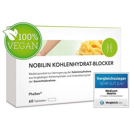 NOBILIN KOHLENHYDRATBLOCKER – 60 Tabletten Zur Unterstützung Der Gewichtsabnahme, Natürlicher Appetitzügler Ohne Tierische Inhaltsstoffe Zum Gewichtsverlust, Diät Kapseln Zum Abnehmen Von MEDICOM