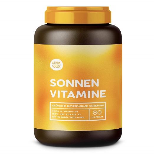 Vitamin D3, K2 Und Pflanzliche Omega 3 Fettsäuren | SONNENVITAMINE | Ohne Zusatzstoffe, Ohne Hilfsstoffe | 80 Kapseln