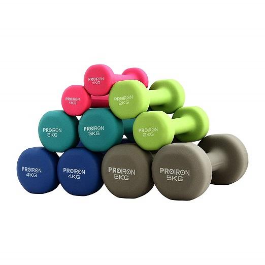 PROIRON Set Leichte Übungsgewichte Kurzhanteln Neopren Hantel 5 Gewichts- Und Farbvarianten (2er-Set)