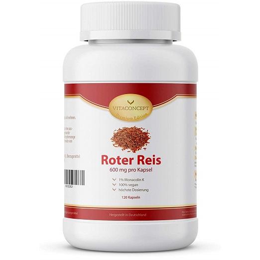 Fermentierter Roter Reis Hilft, Den Cholesterinspiegel Zu Senken – 600 Mg Mit Monacolin K 6,6 Mg HOCHDOSIERT – 120 Roter Reis Kapseln – Monascus Purpureus – VITACONCEPT
