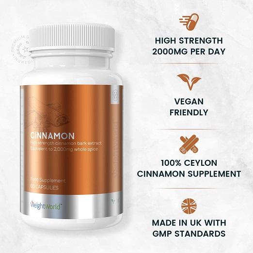 Kaneel Capsules – Ter Ondersteuning Van Een Normale Bloedsuikerspiegel, Stofwisseling En Ideaal Gewicht – 60 Vegan Capsules – Hoge Dosis 2000mg Ceylon Kaneel Supplement