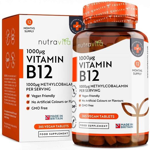 Nutravita – Vitamine B12 De Vitamine Voor O.a. Veganisten, Draagt Bij Aan Het Normale Functioneren Van Uw Immuunsysteem, Energiemetabolisme, Hersenfuncties En Vermindering Vermoeidheid – 365 Tabletten (1 Jaar Voorraad)