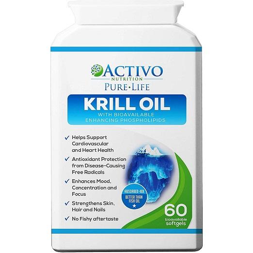Omega 3, 100 % Puur Krill Oil, Veel Gezonder Dan Van Visolie – Positieve Ondersteuning Voor Uw Hart, Ogen, Gewrichten En Hersenen, Geheugenverbetering En Energie – Met Vitamines E, A En D – 60 Capsules